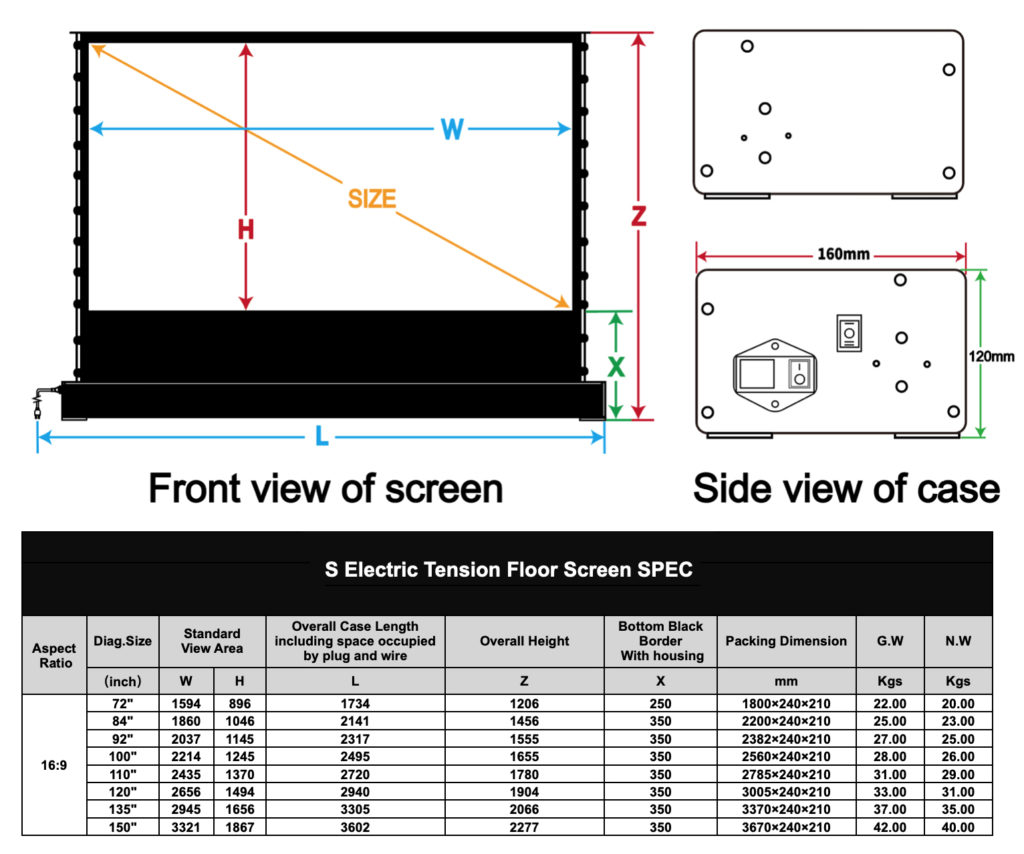 VividStorm Electric Tension Floor Rising White Cinema Screen Size Dimensions